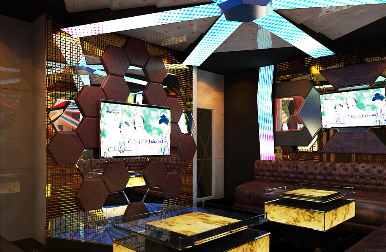 hình ảnh thiết kế 3D phòng karaoke