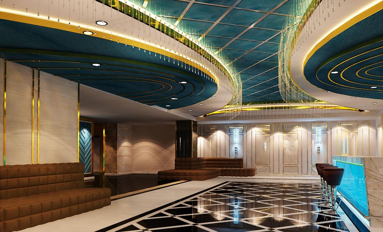 hình ảnh thiết kế 3D phòng karaoke , sảnh karaoke 3